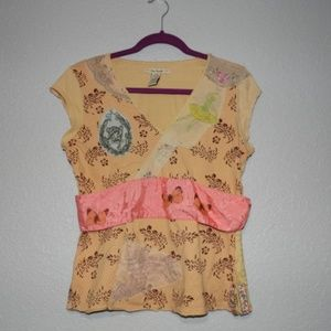Free People Yellow Patchwork top